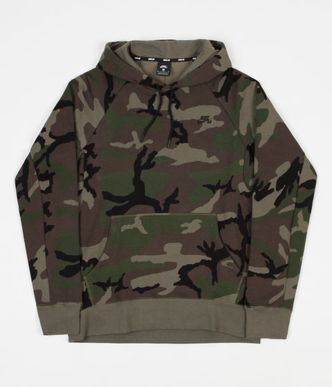 Nike SB Icon Hoodie - Medium Olive / Black