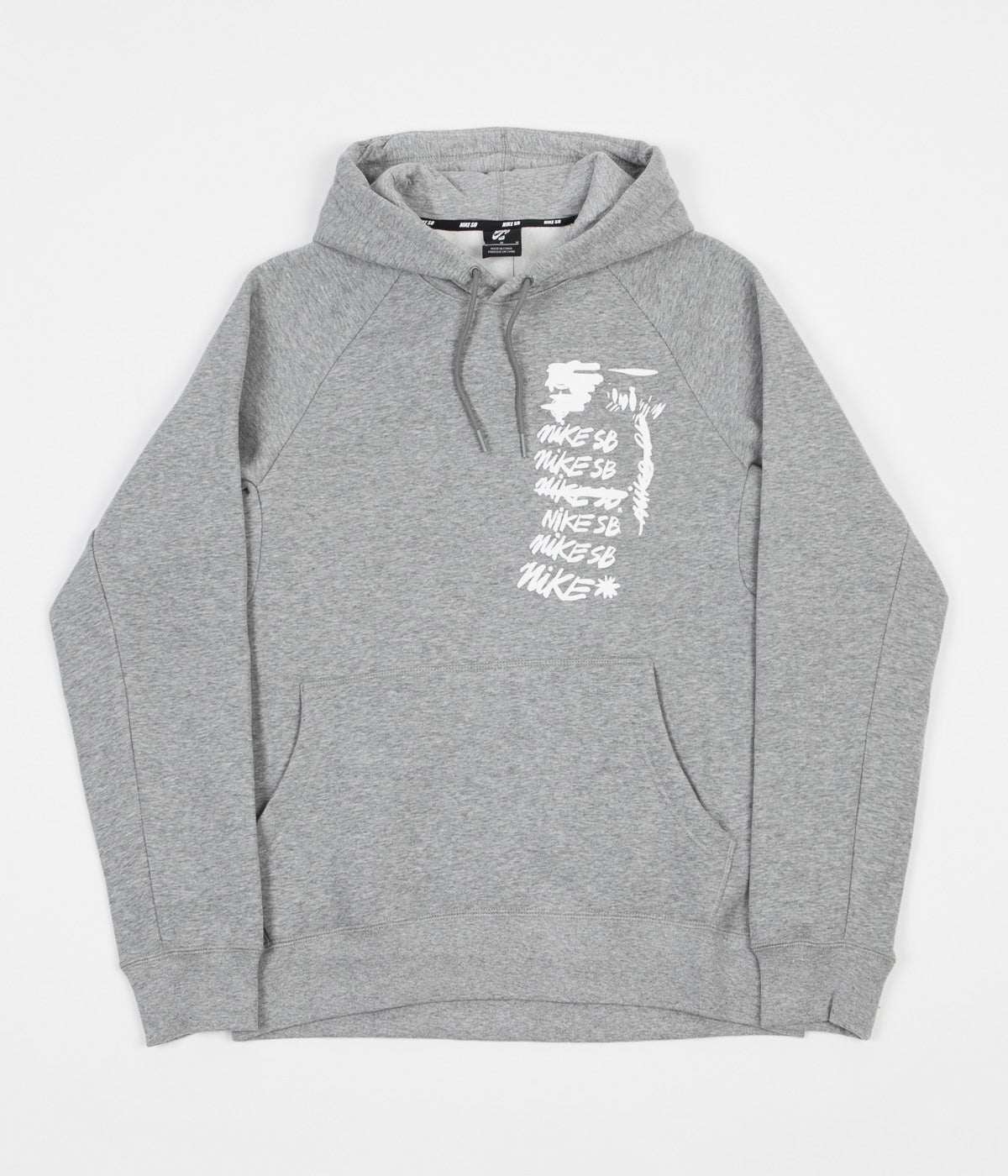 Nike SB Icon Script Hoodie - Dark Grey Heather / White