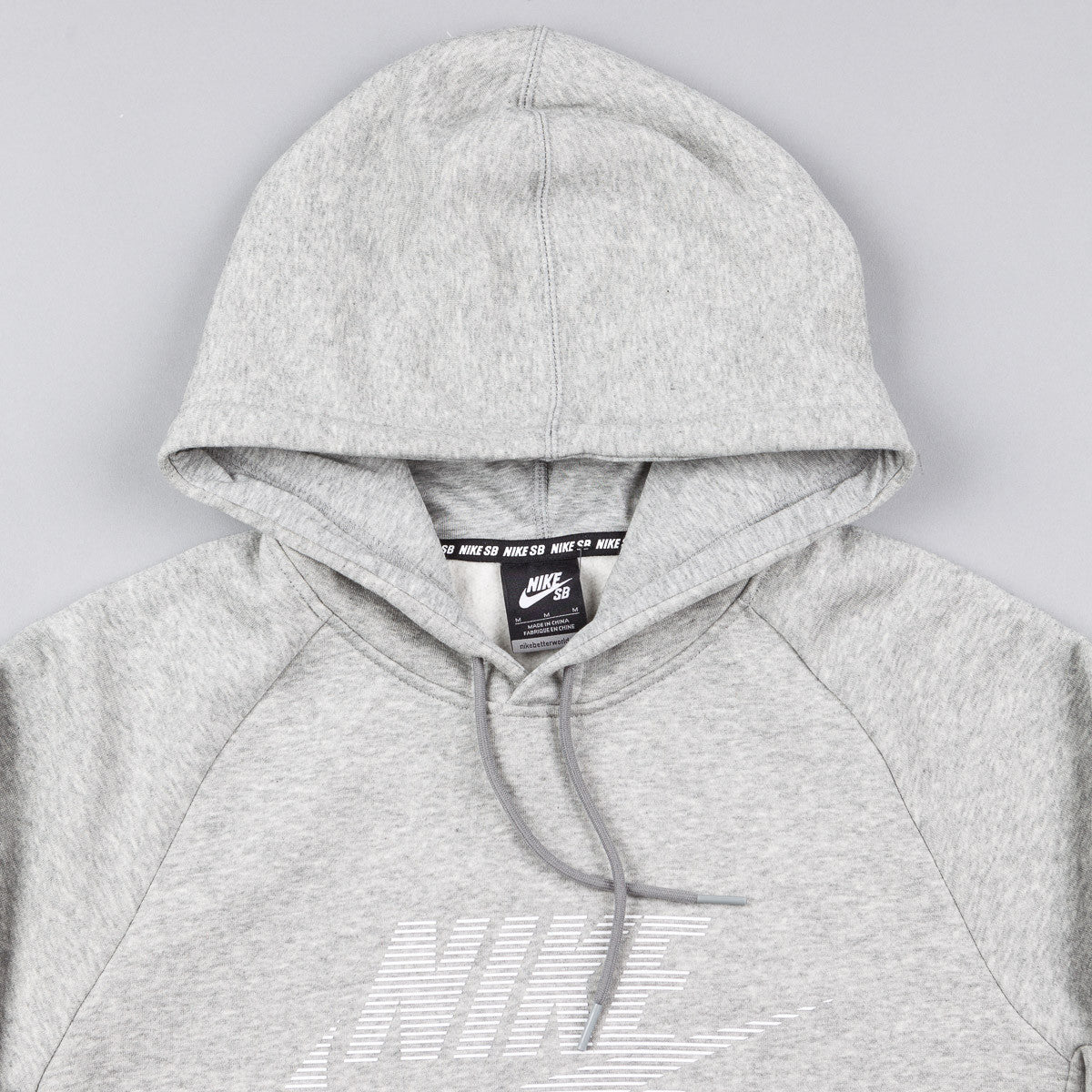 Nike SB Icon Stripe Hooded Sweatshirt - Dark Grey Heather / White