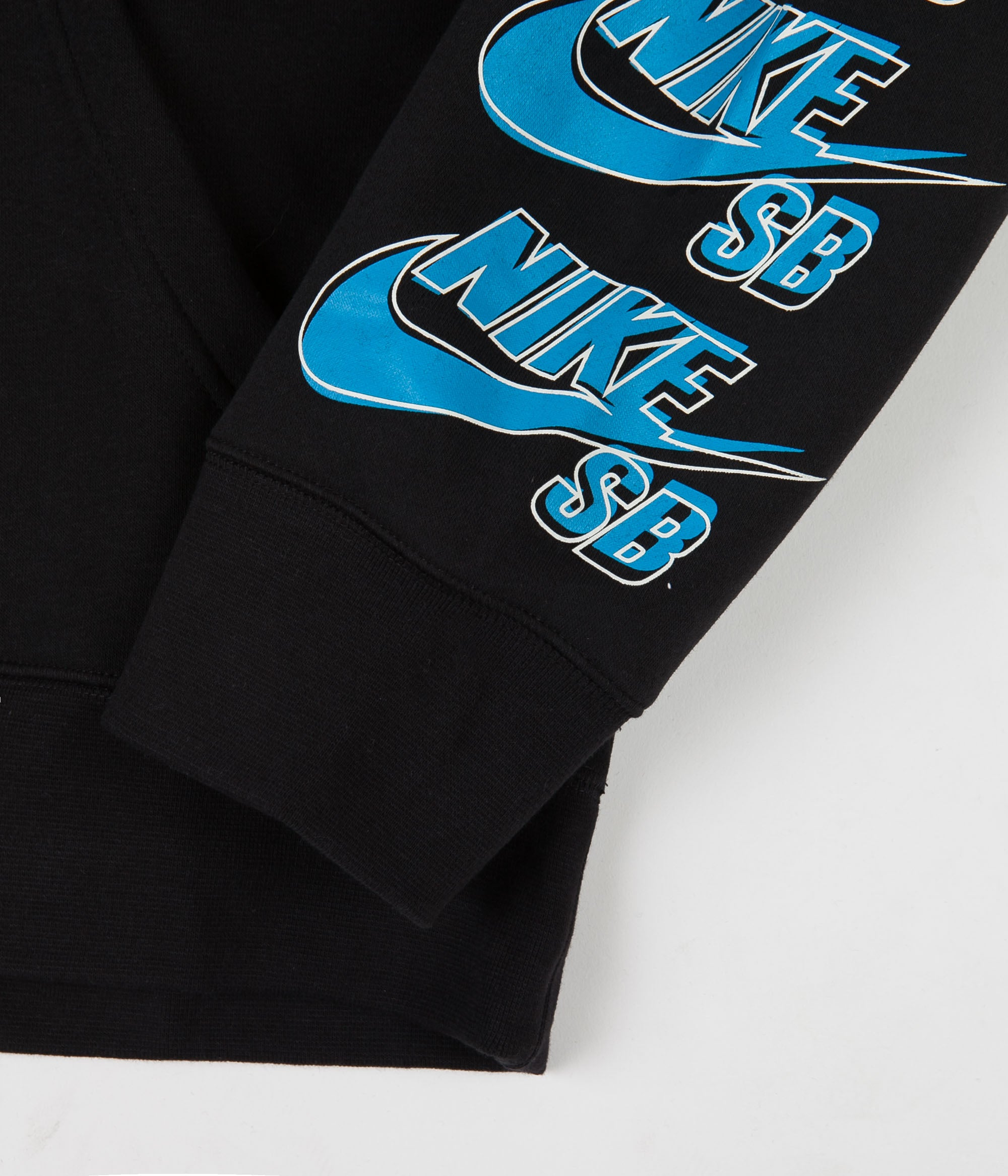 Nike SB Icon Triple Stack Pullover Hoodie - Black / Blue Stardust