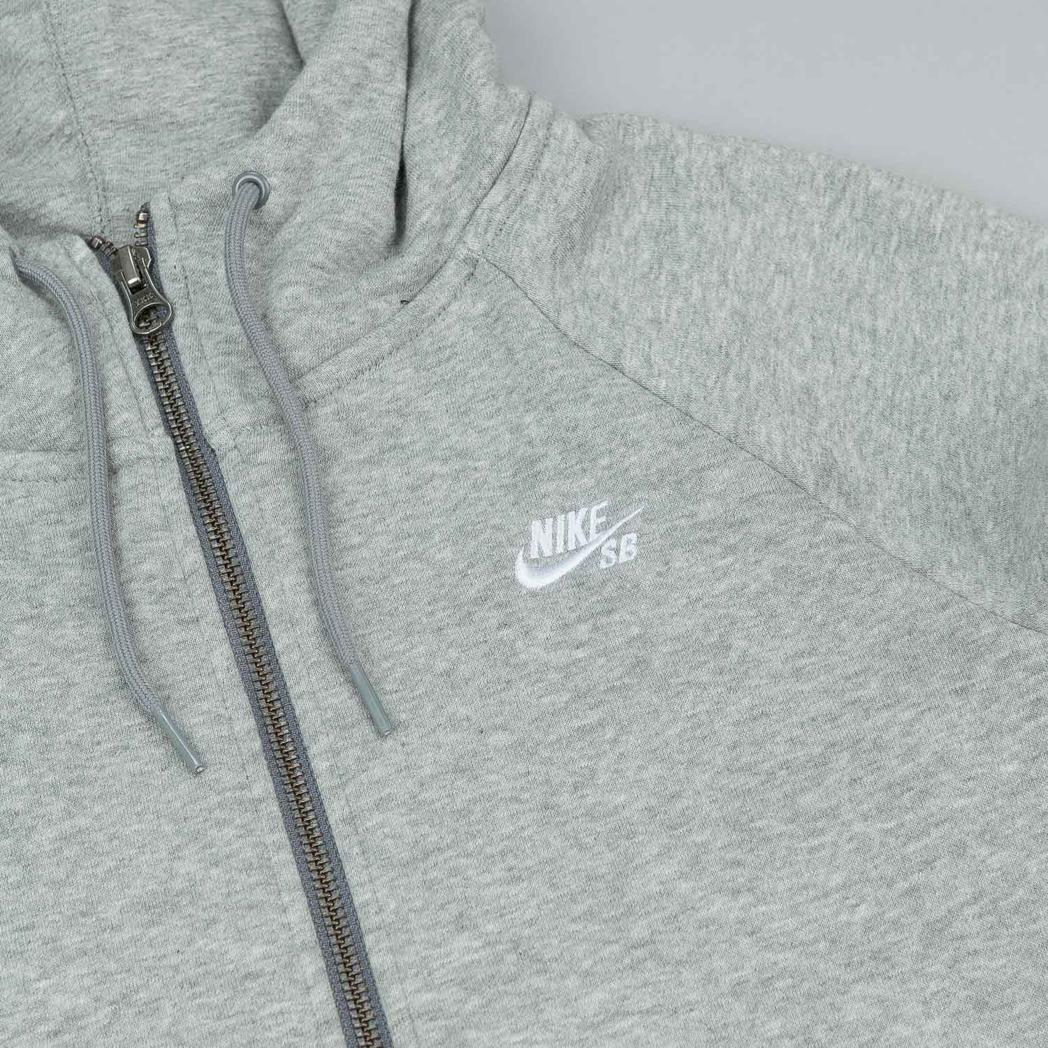 NIke SB Icon Zipped Hooded Sweatshirt - Dark Grey Heather / White