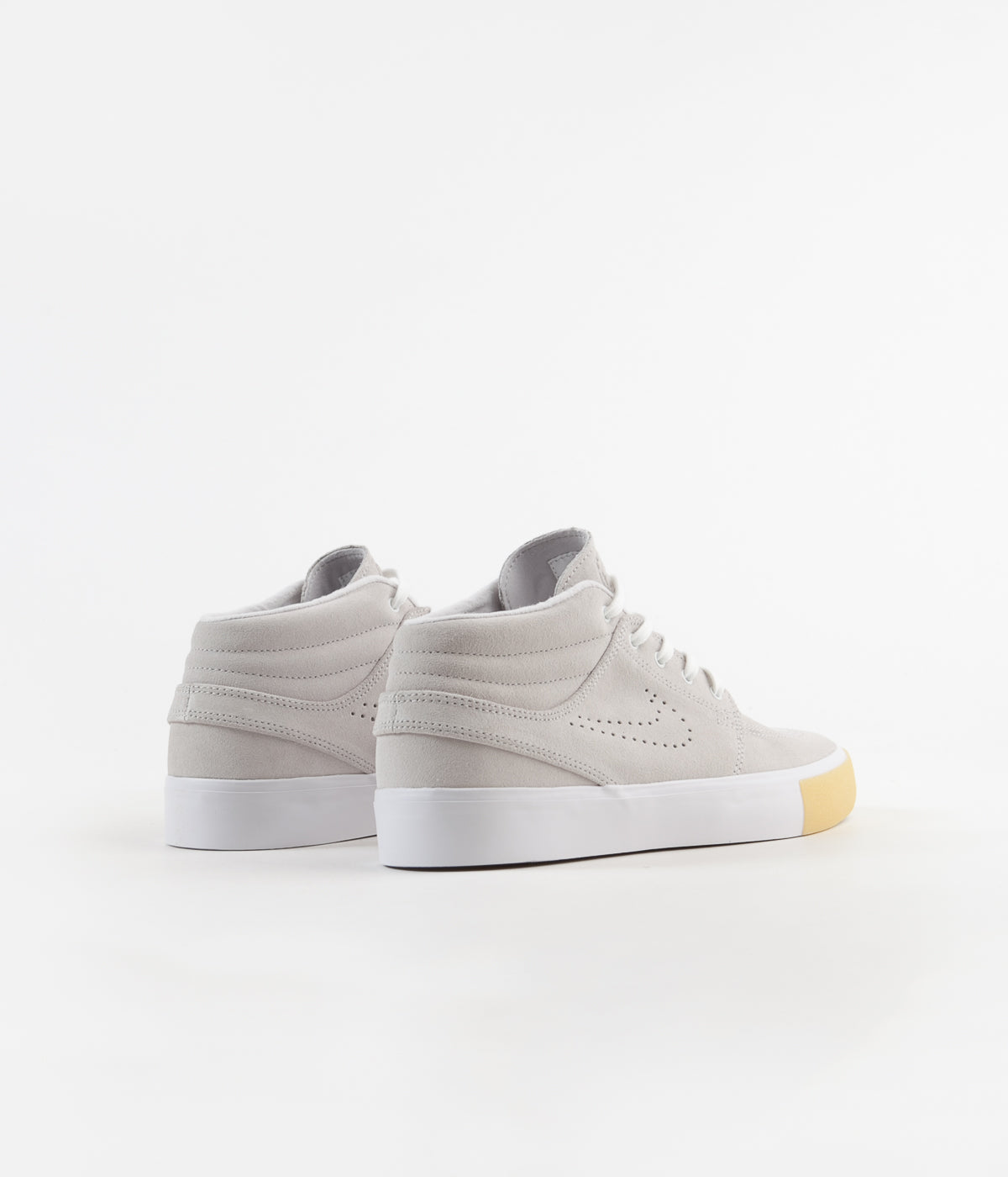Nike SB Janoski Mid Remastered Shoes - White / White - Vast Grey - Gum Yellow