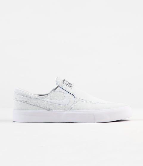 Nike SB Janoski Slip On Remastered Premium Shoes - White / White - Game Royal