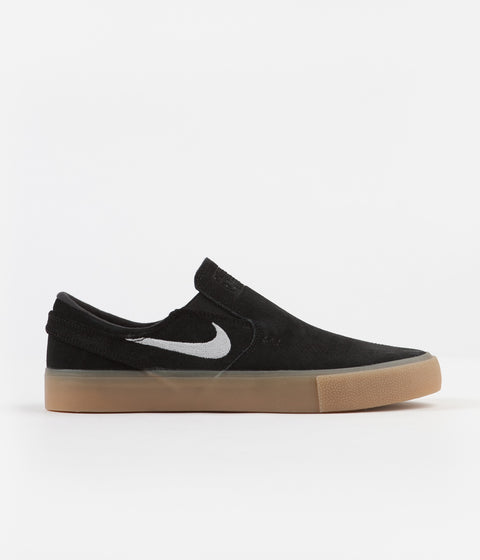 newest 80204 2750b Nike SB Janoski Slip On Remastered Shoes - Black   White - Black - Gum Light