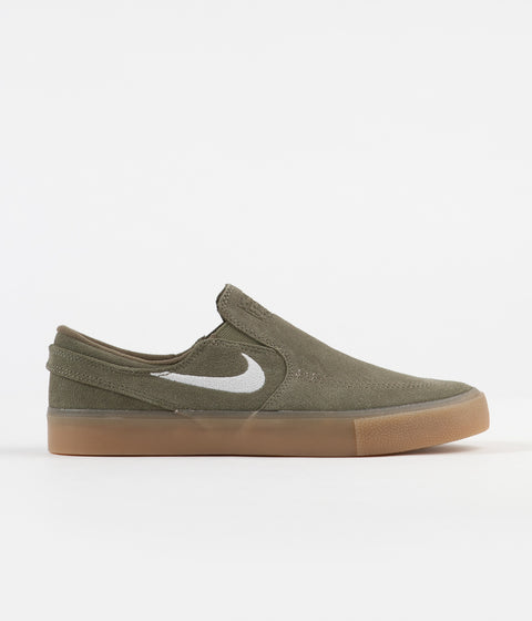 27fc3589 Nike SB Janoski Slip On Remastered Shoes - Medium Olive / White - Medium  Olive
