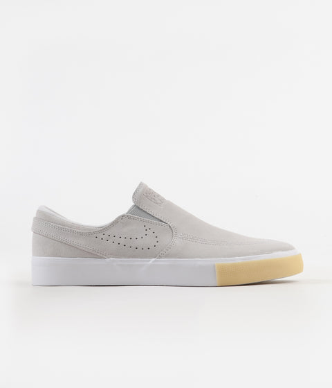 Nike SB Janoski Slip On Remastered Shoes - White / White - Vast Grey - Gum Yellow