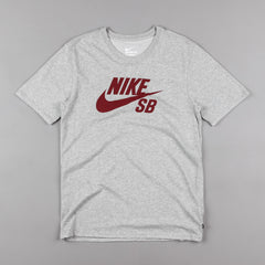 Nike SB Logo T-Shirt - Dark Grey Heather / Dark Grey Heather / Team Red