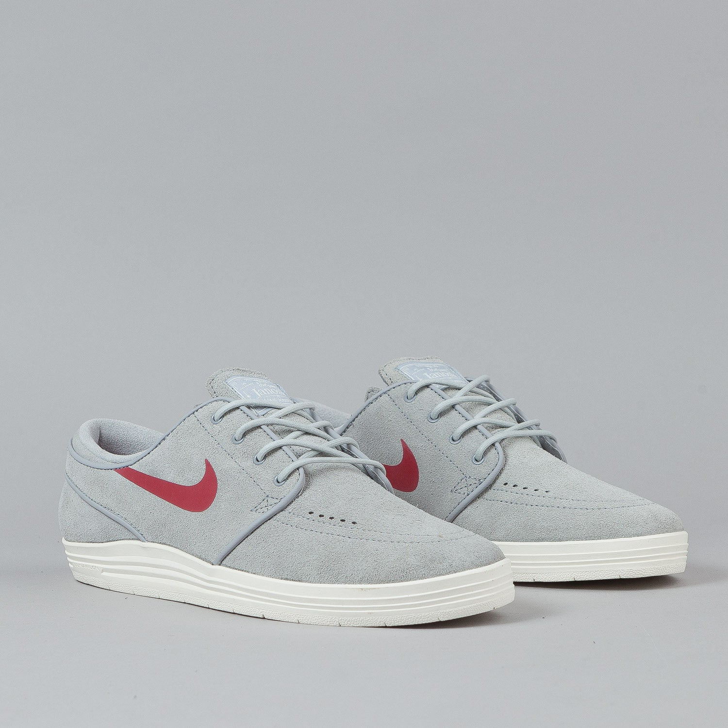 Nike SB Lunar Stefan Janoski Shoes Wolf Grey / Gym Red - Sail