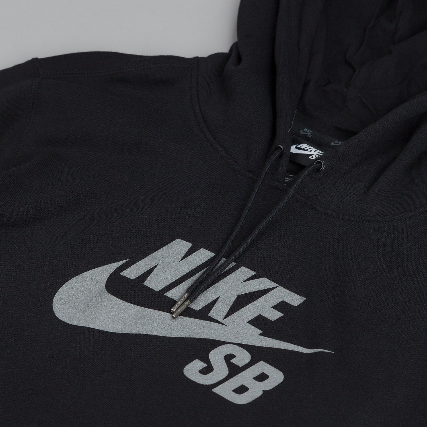 Nike SB Pullover Reflective Icon Hooded Sweatshirt - Black / Reflect Silver