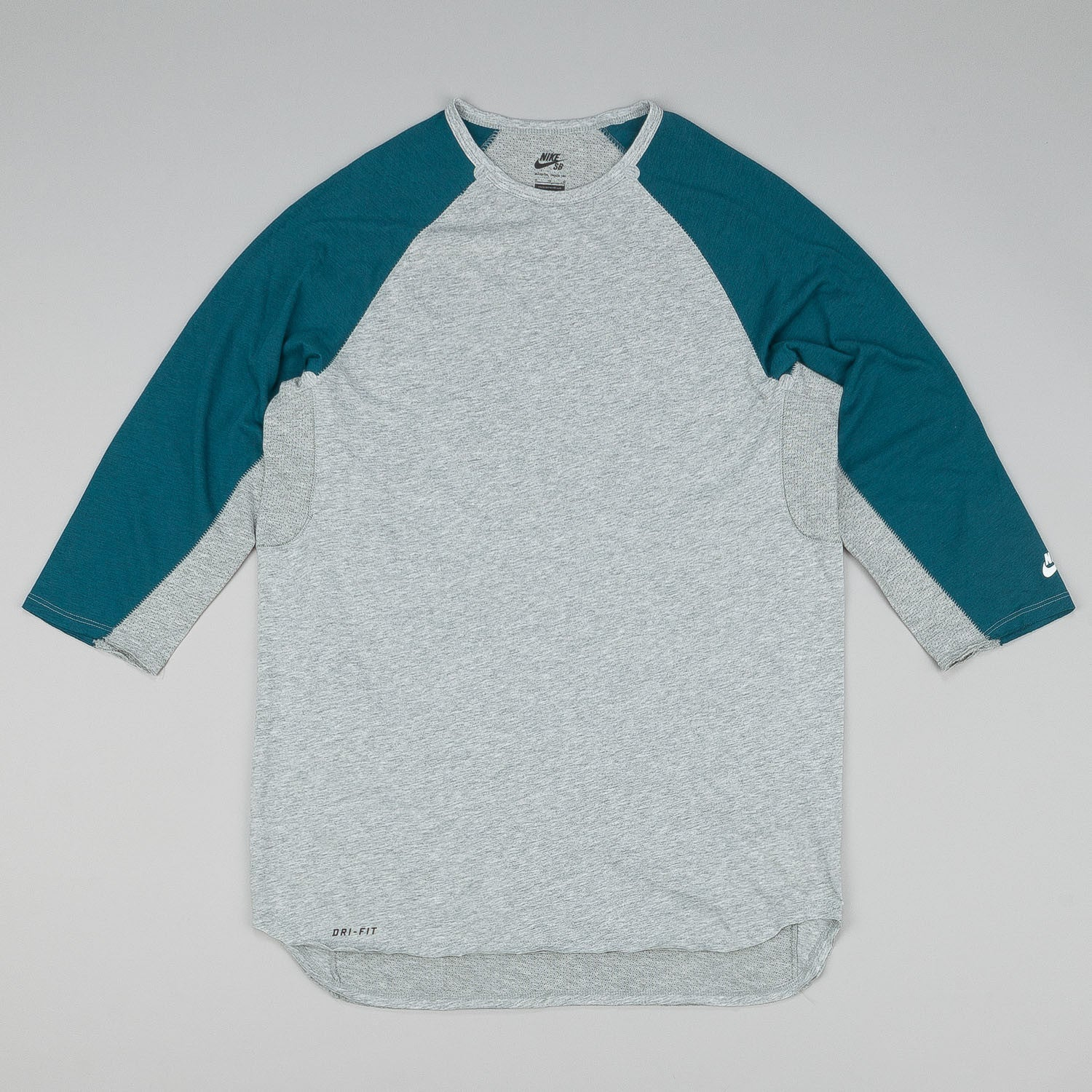 Nike SB Skyline DFC 3/4 Sleeve Raglan T-Shirt - Dark Grey Heather / White