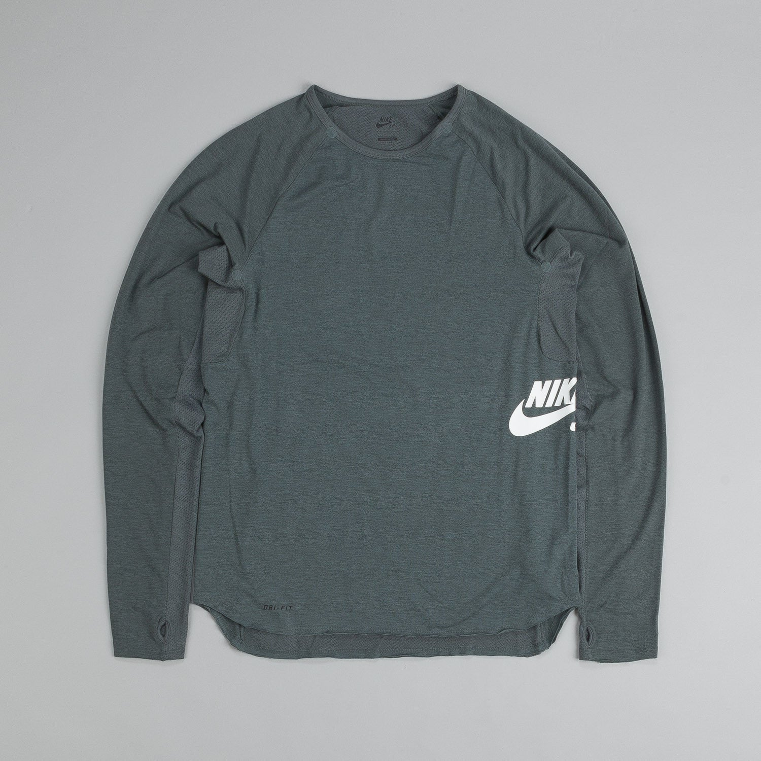 Nike Sb Skyline Dri-Fit Long Sleeve Crew T Shirt Bomber Grey