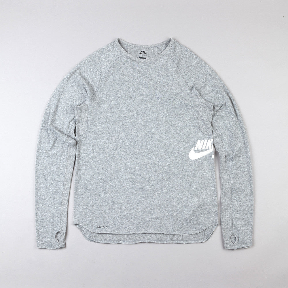 Nike Sb Skyline Dri-Fit LS Crew T Shirt Dark Grey Heather