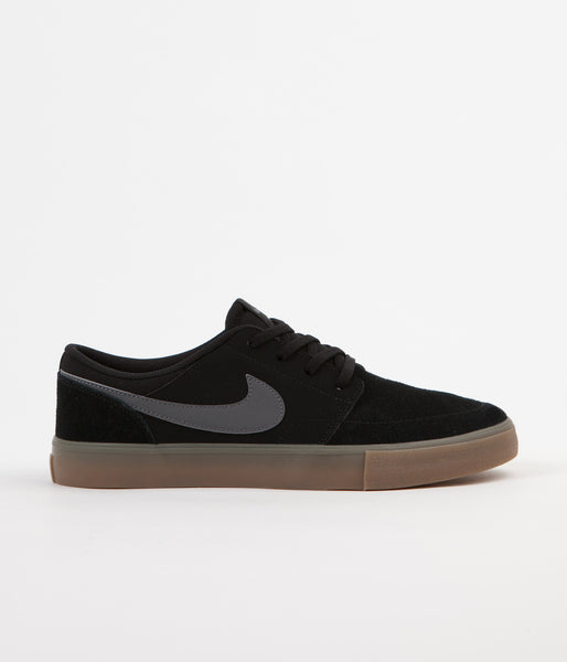 Nike SB Solarsoft Portmore II Shoes - Black / Dark Grey - Gum Light Brown