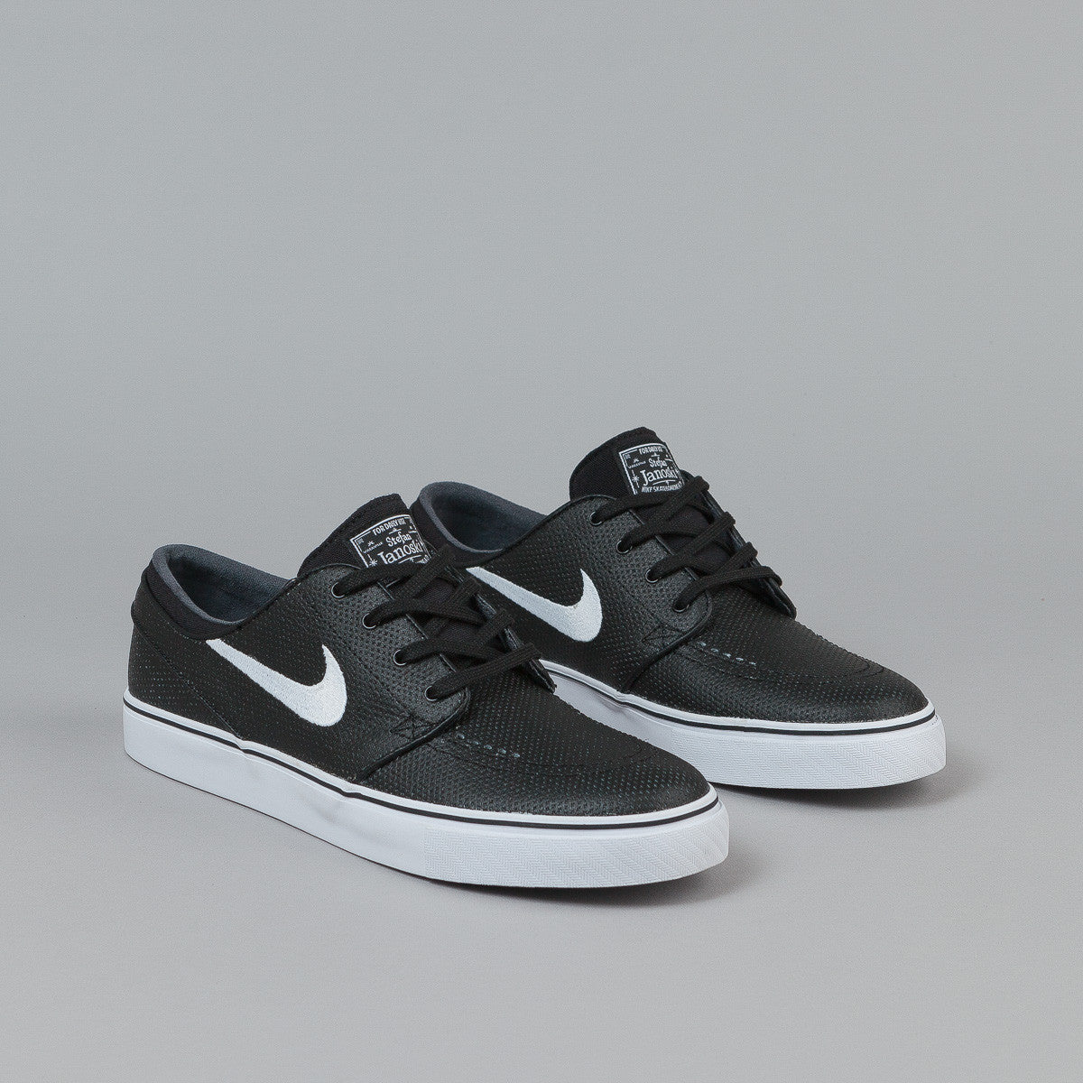 Nike SB Stefan Janoski L Shoes - Black / White - Wolf Grey