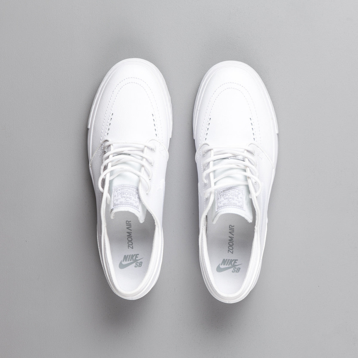 Nike SB Stefan Janoski Leather Shoes - White / White - Wolf Grey