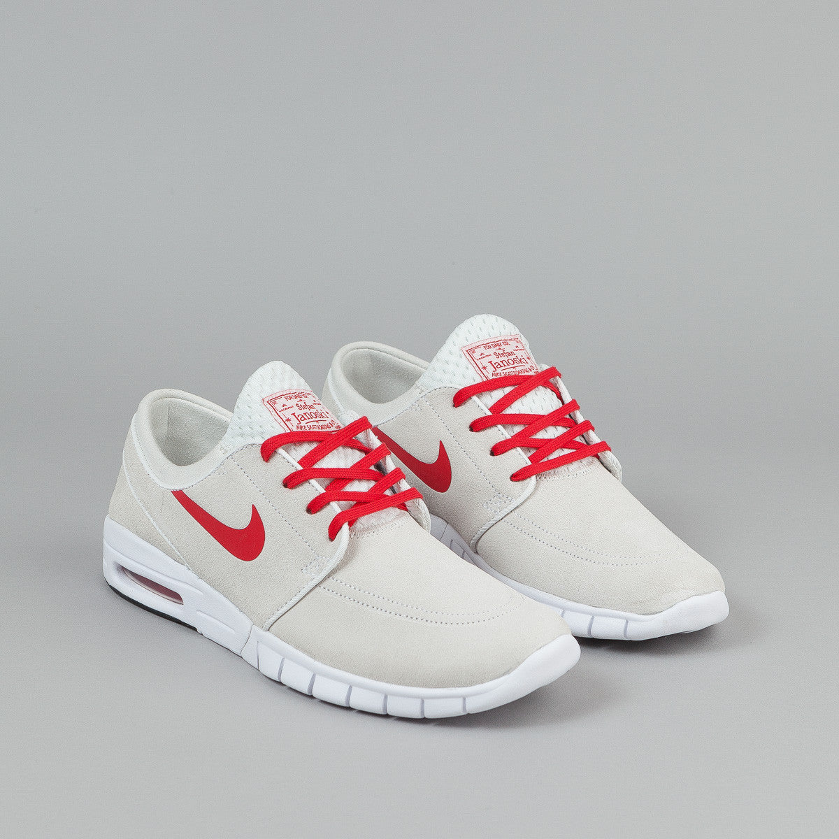 Nike SB Stefan Janoski Max L Suede Shoes - Summit White / University Red / White / Black