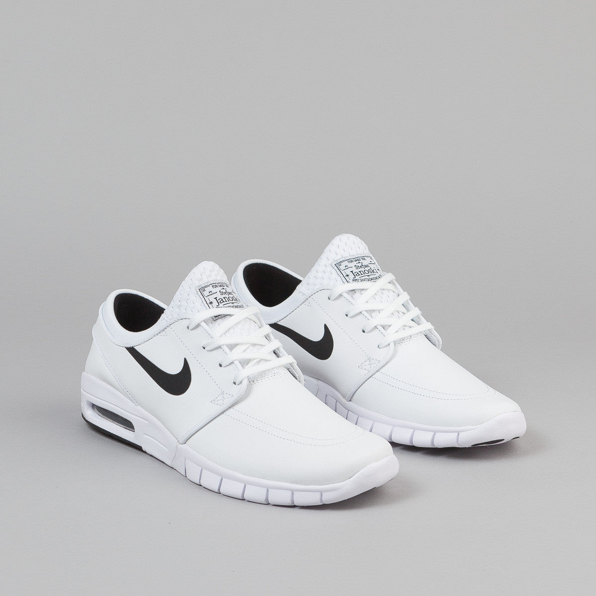 nike sb stefan janoski max leather shoes white black