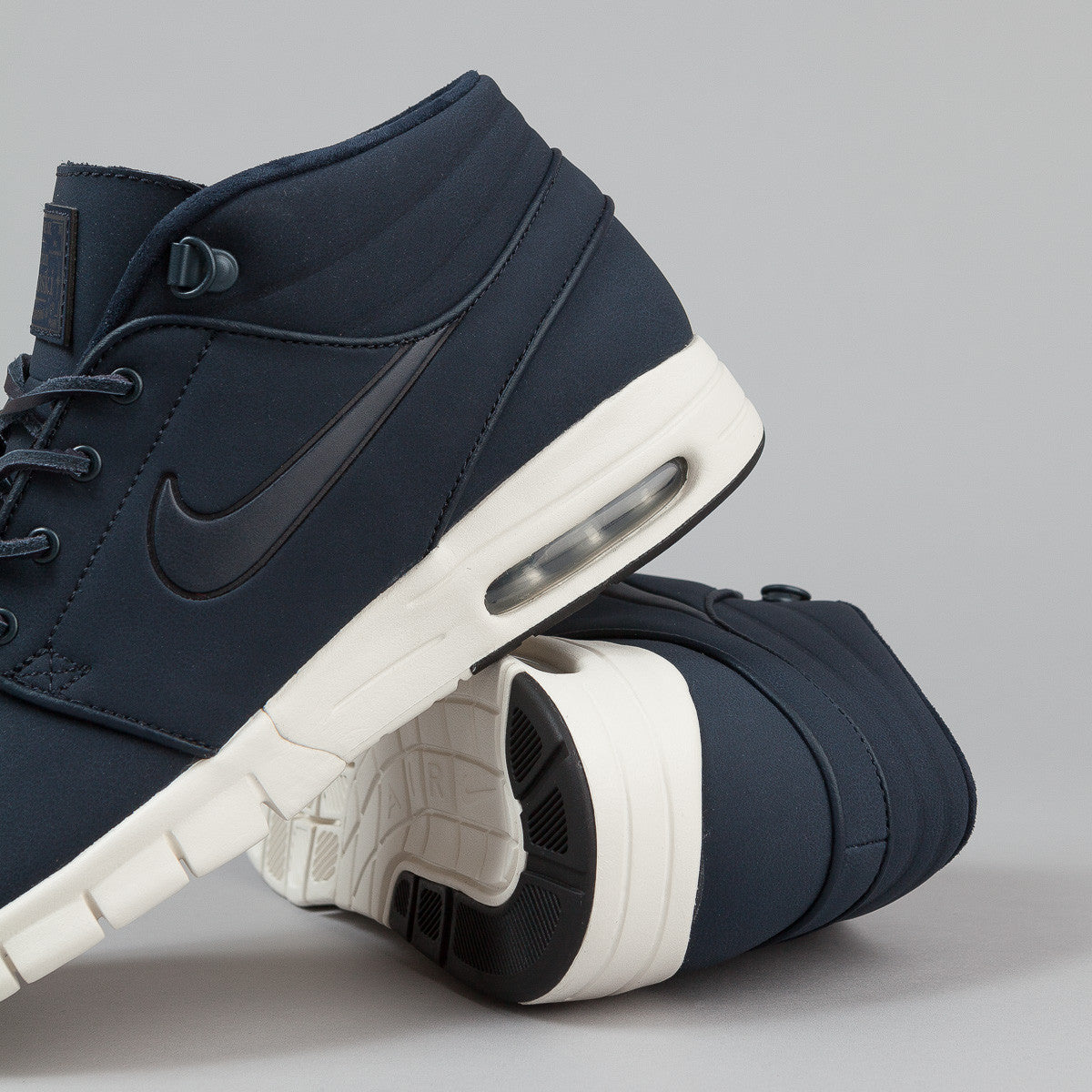 Nike SB Stefan Janoski Max Mid Leather Shoes - Dark Obsidian / Dark Obsidian