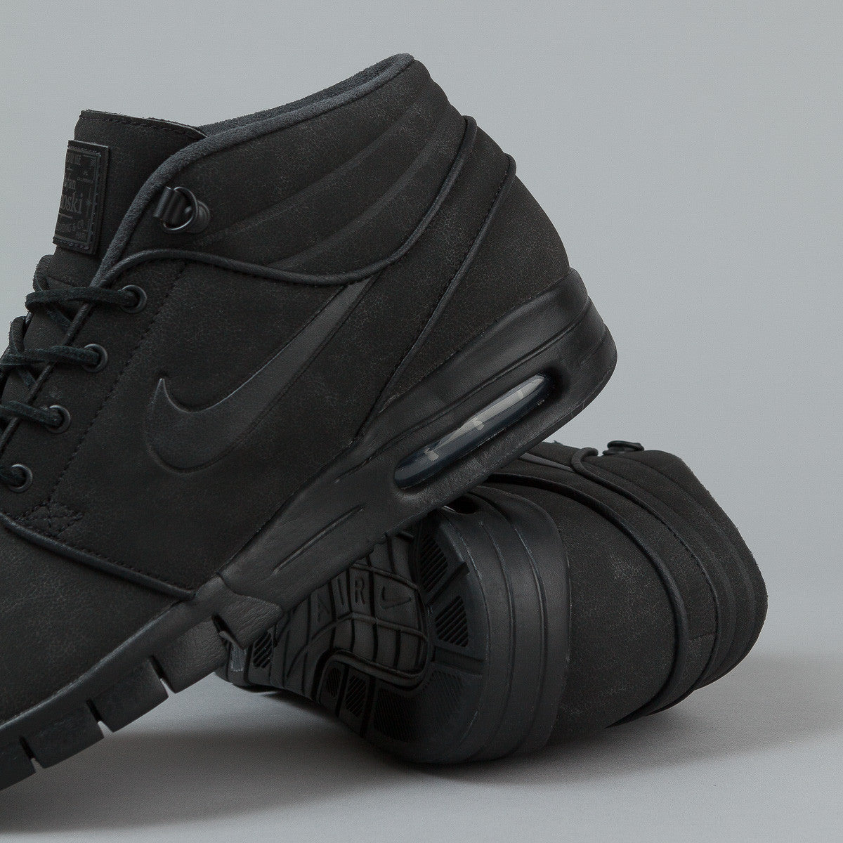 Nike SB Stefan Janoski Max Mid Leather Shoes - Black / Black