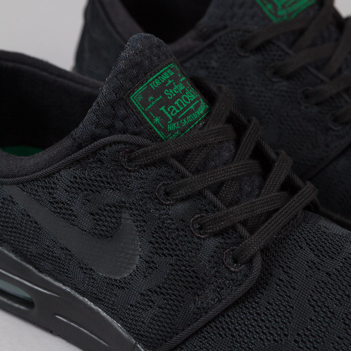 Nike SB Stefan Janoski Max Shoes - Black / Black - Pine Green