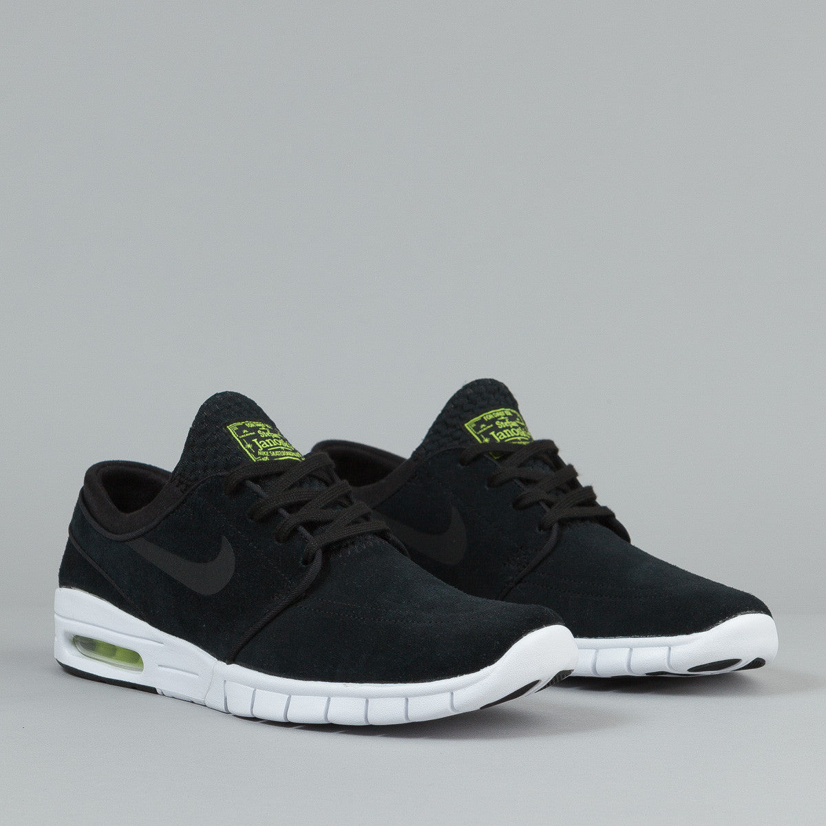 nike sb stefan janoski max suede shoes black black cyber white flatspot. Black Bedroom Furniture Sets. Home Design Ideas
