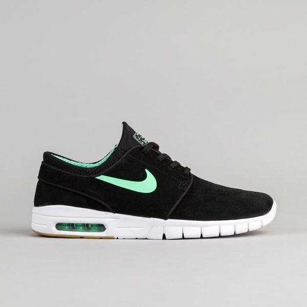 Nike SB Stefan Janoski Max Suede Shoes - Black / Green Glow - White - Gum Light Brown