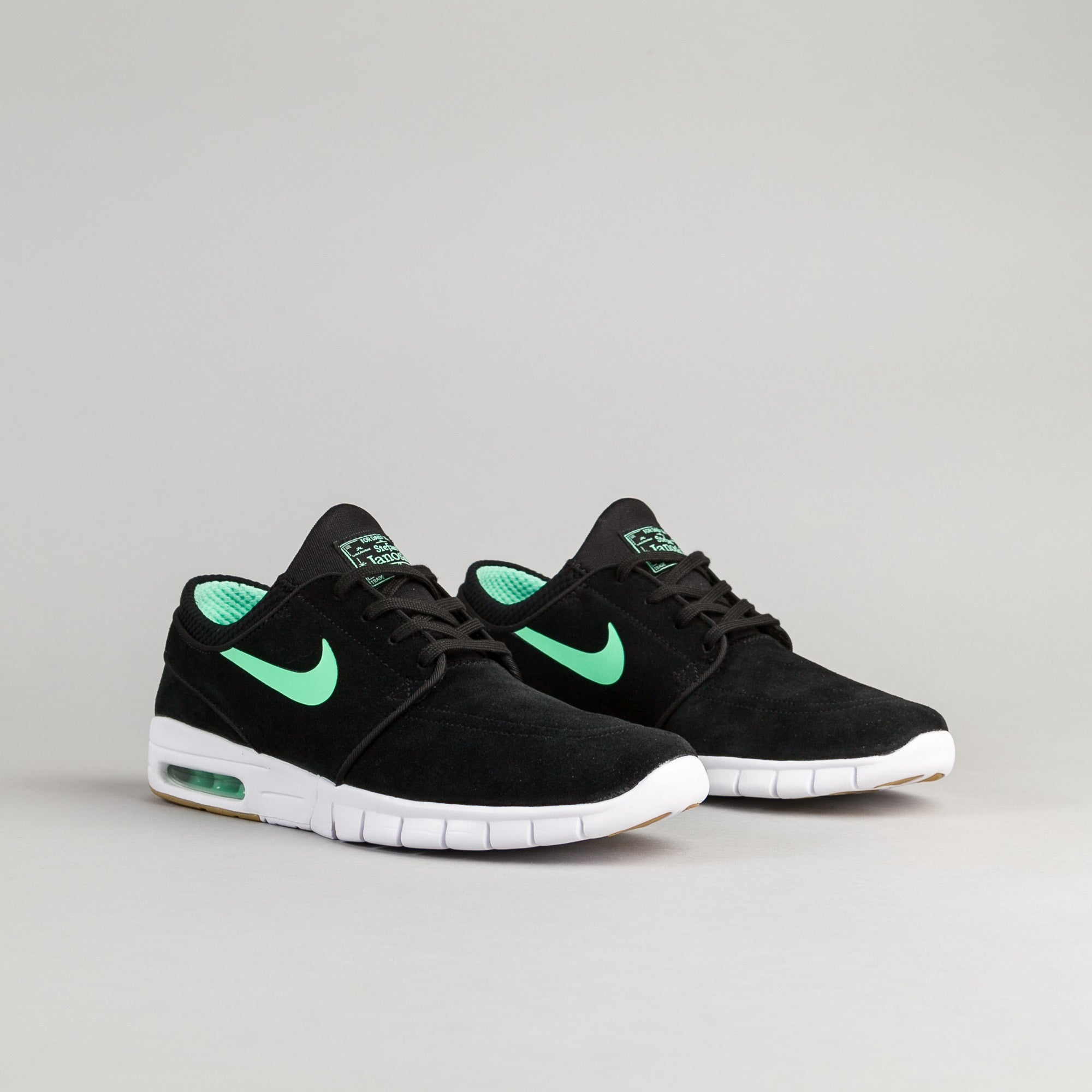 nike sb stefan janoski max suede shoes black green glow white flatspot. Black Bedroom Furniture Sets. Home Design Ideas