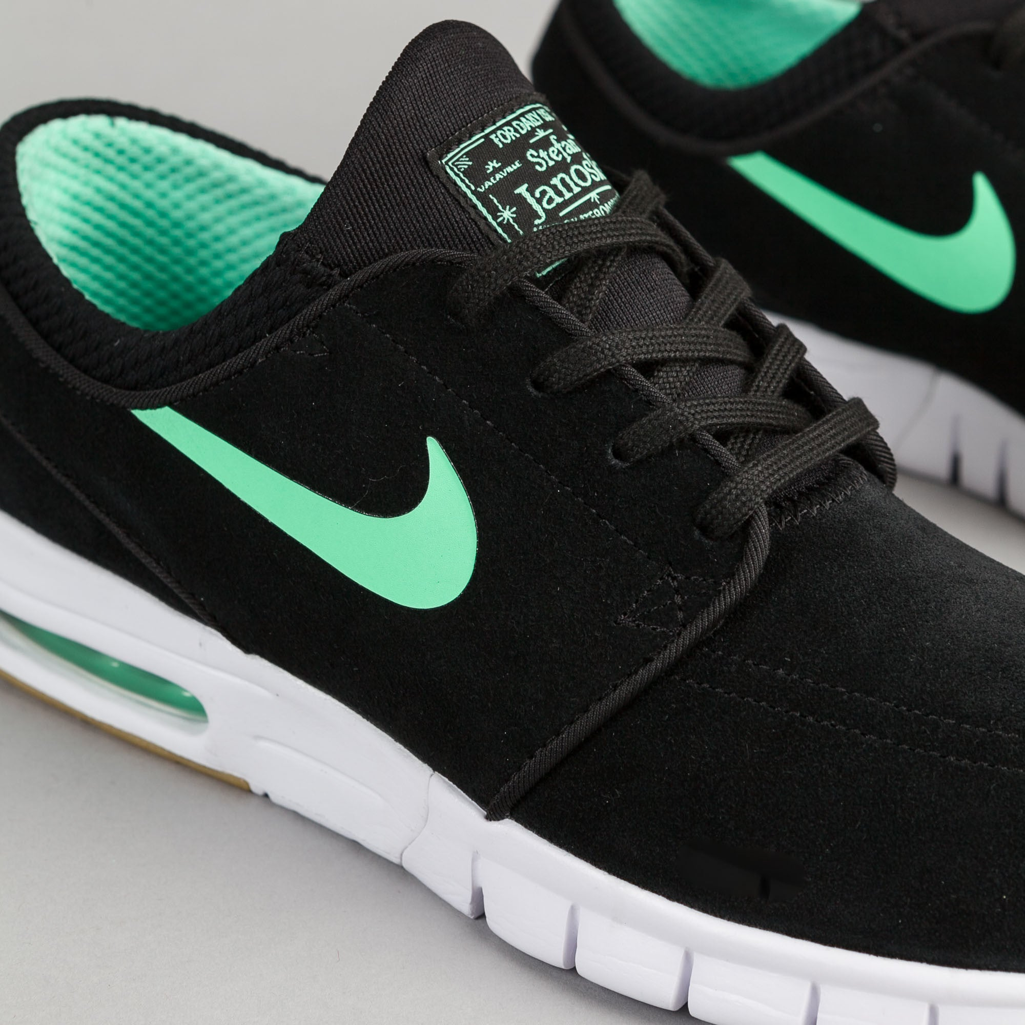 buy popular cost charm how to buy Nike SB Stefan Janoski Max Suede Shoes - Black / Green Glow ...