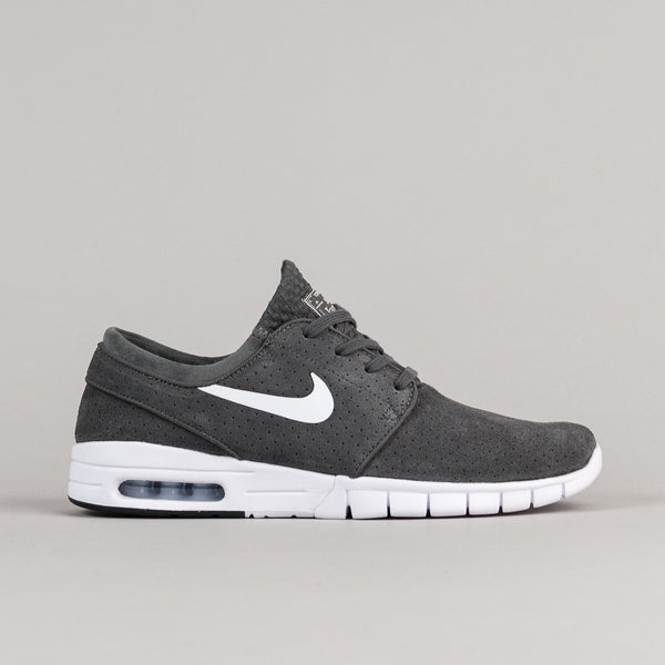 Nike SB Stefan Janoski Max Suede Shoes - Dark Grey / White - Black - White