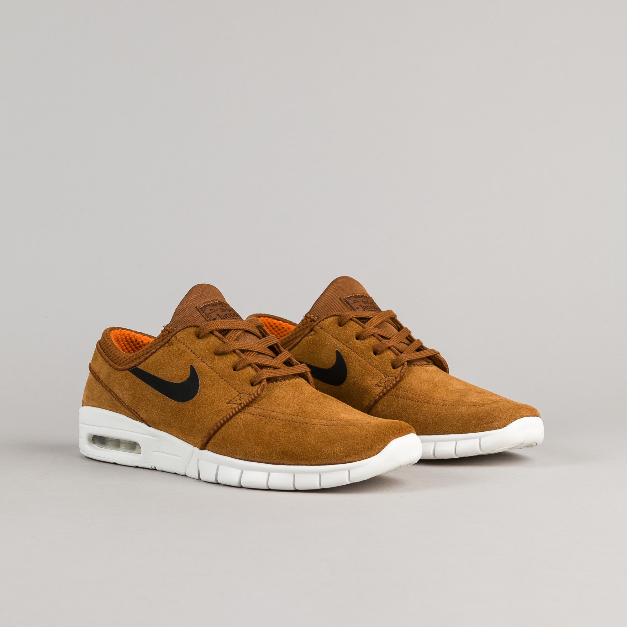 Nike SB Stefan Janoski Max Suede Shoes - Hazelnut / Black - Ivory - Clay Orange