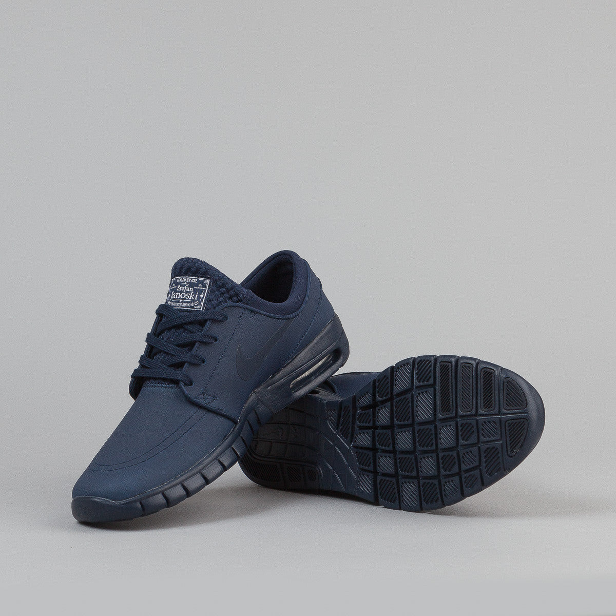 Nike SB Stefan Janoski Max Leather Shoes - Obsidian / Obsidian - White