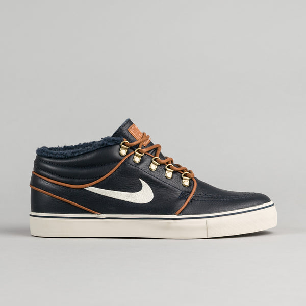 Nike SB Stefan Janoski Mid Premium Shoes - Dark Obsidian / Birch - Light British Tan