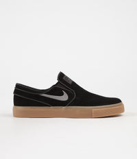 Nike SB Stefan Janoski Slip On Shoes - Black / Gunsmoke - Gum Light Brown