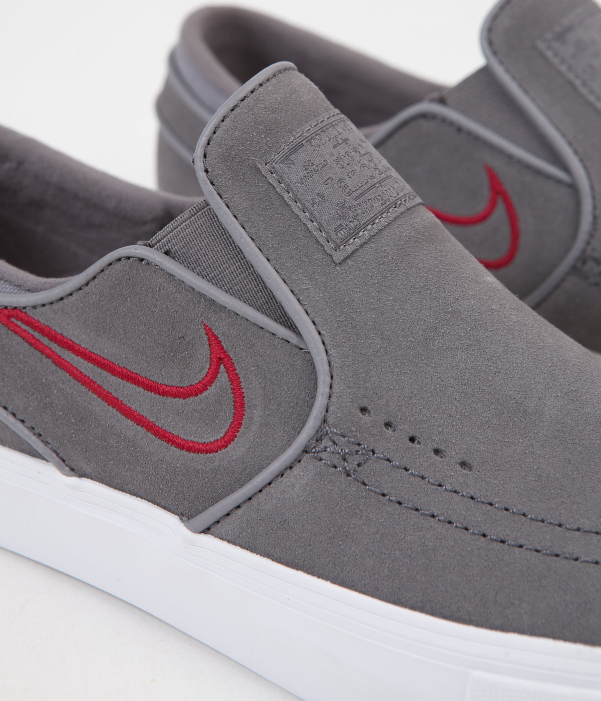 Nike SB Stefan Janoski Slip On Shoes - Gunsmoke / Gunsmoke - Red Crush