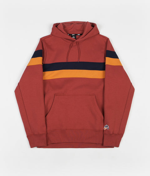 Nike SB Striped Hoodie - Team Crimson / Obsidian / Cinder Orange