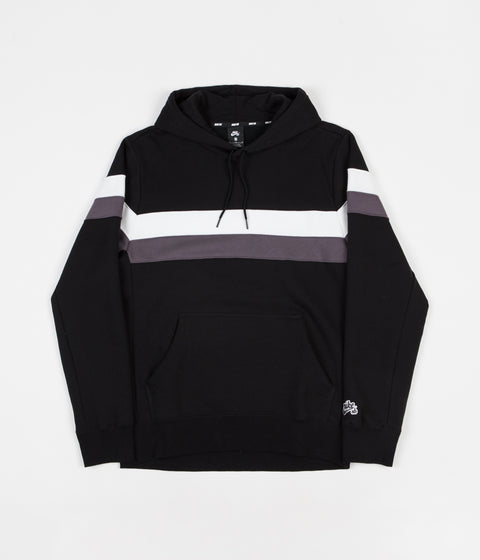 Nike SB Striped Hoodie - Black / White / Thunder Grey / Thunder Grey