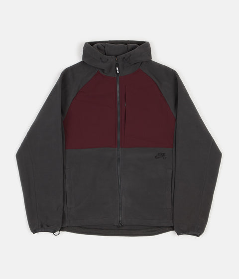 Nike SB Polartec Winterized Full Zip Hoodie - Anthracite / Burgundy Crush / Black