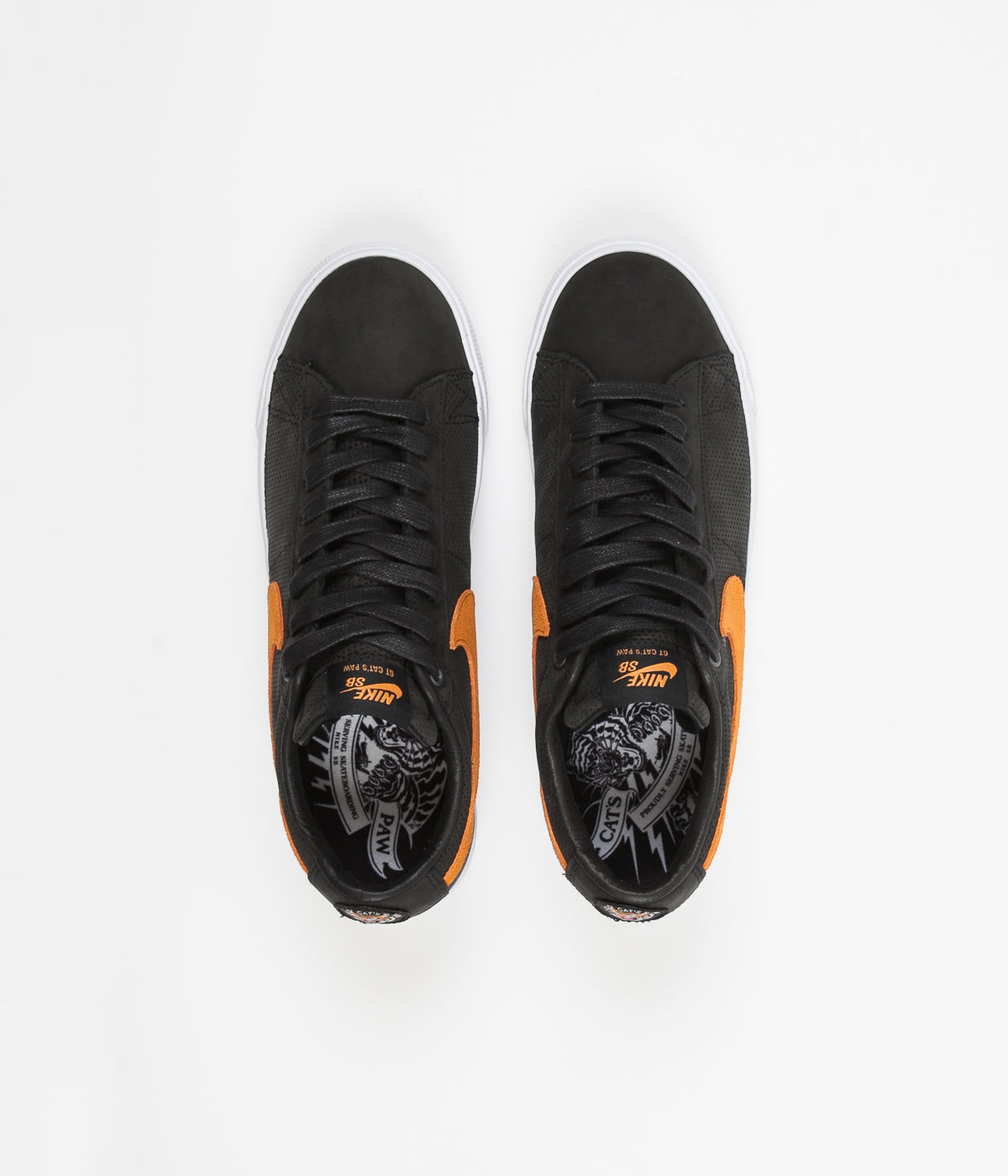 Nike SB x Cat's Paw Blazer Low GT Shoes  - Black / Vivid Orange - White