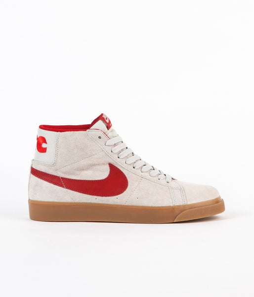 Nike SB x FTC Blazer Mid QS Shoes - Light Bone / Brickhouse - Gum Light Brown
