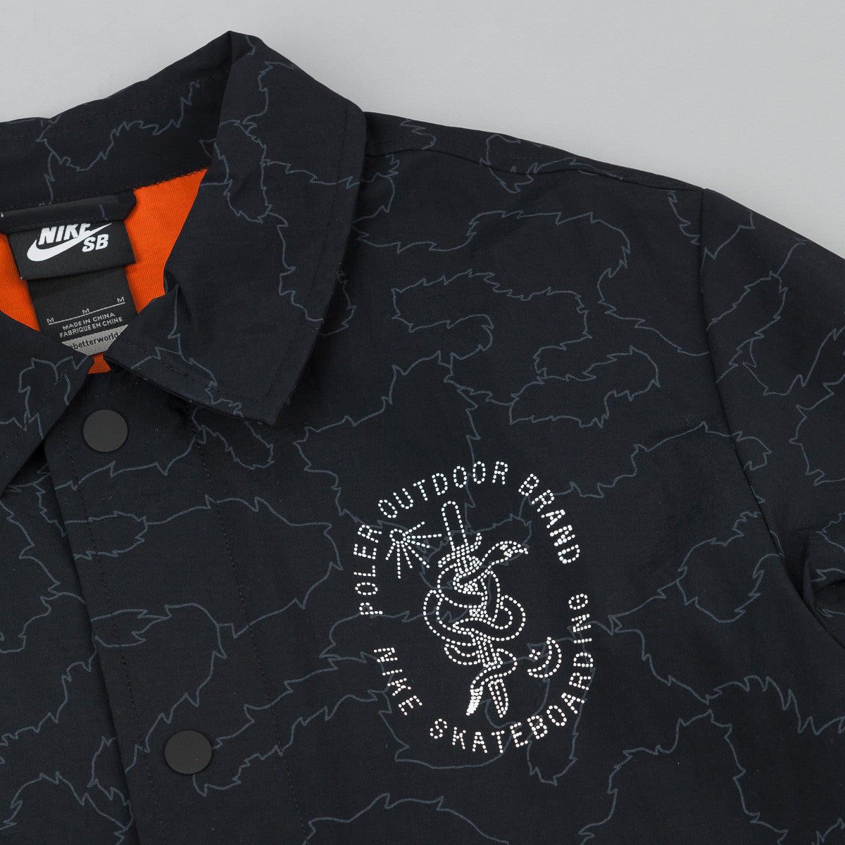 Nike SB x Poler Coaches Jacket - Black / Urban Orange / White
