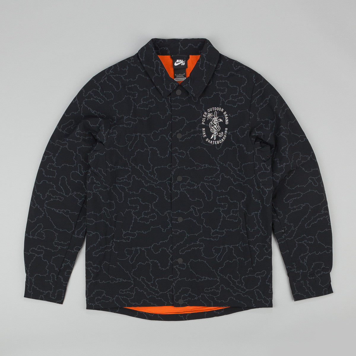 Nike SB x Poler Coach Jacket - Black / Urban Orange / Whitees