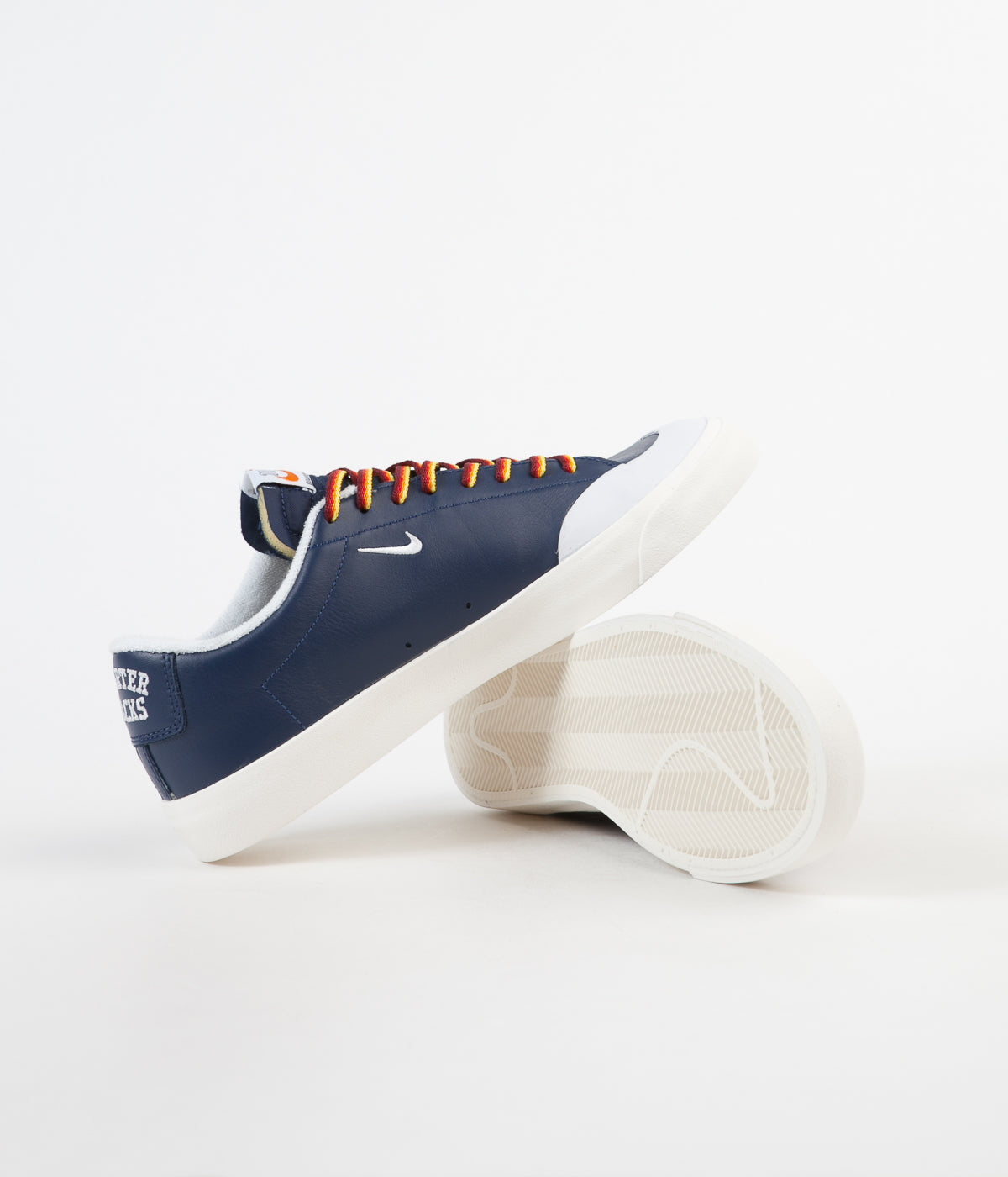 Nike SB x Quartersnacks Blazer Low XT Shoes - Navy / White - Sail