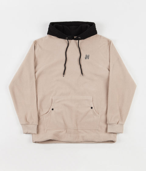 North Skateboard Magazine N Logo 2 Tone Fleece Hoodie - Beige / Black