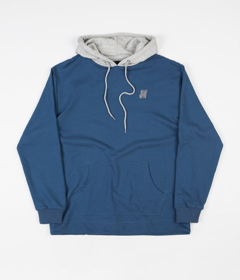North Skateboard Magazine N Logo 2 Tone Hoodie - Blue / Grey