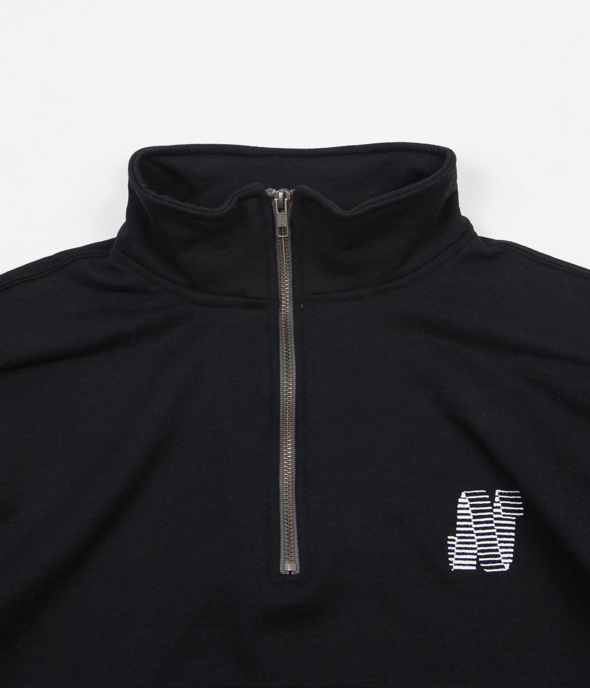 North Skateboard Magazine N Logo Embroidered 1/4 Zip Sweatshirt - Black / White
