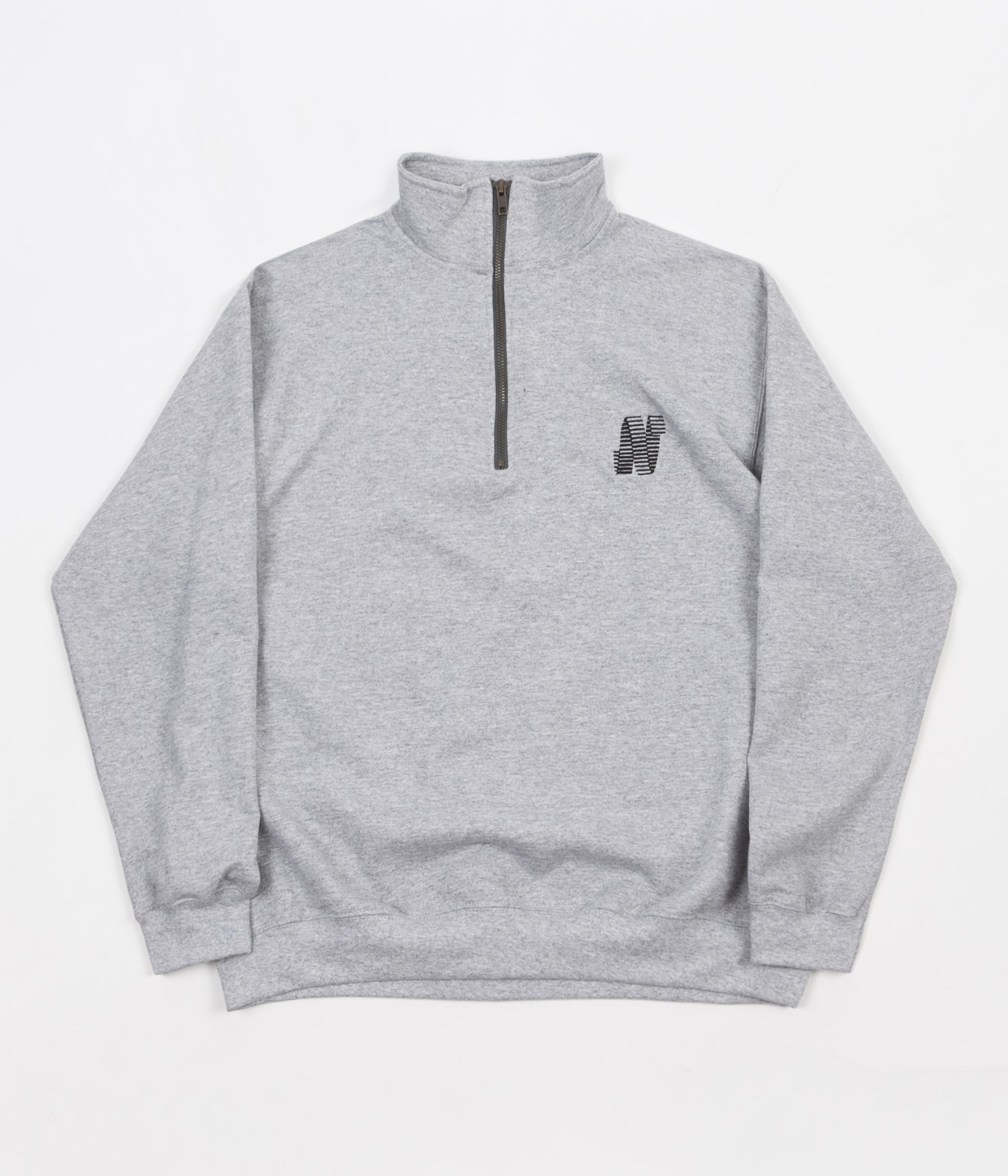 North Skateboard Magazine N Logo Embroidered 1/4 Zip Sweatshirt - Grey / Black