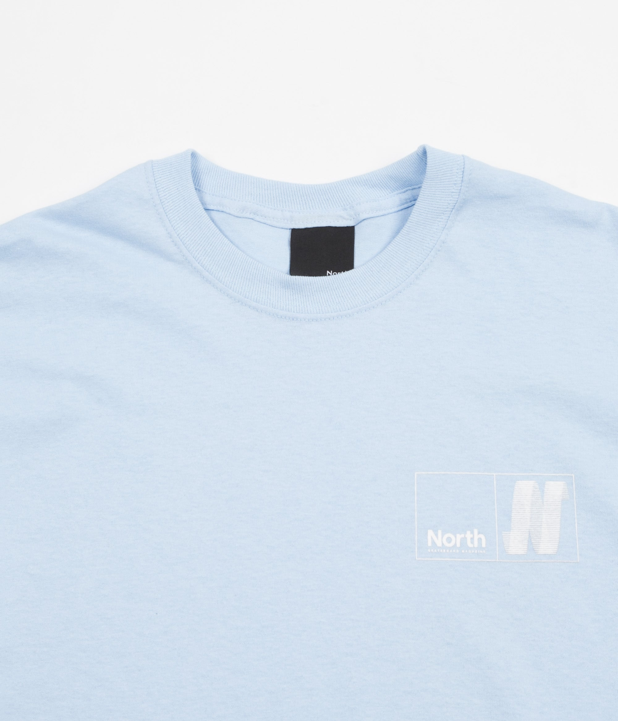 North Skateboard Magazine N Logo Long Sleeve T-Shirt - Light Blue / White