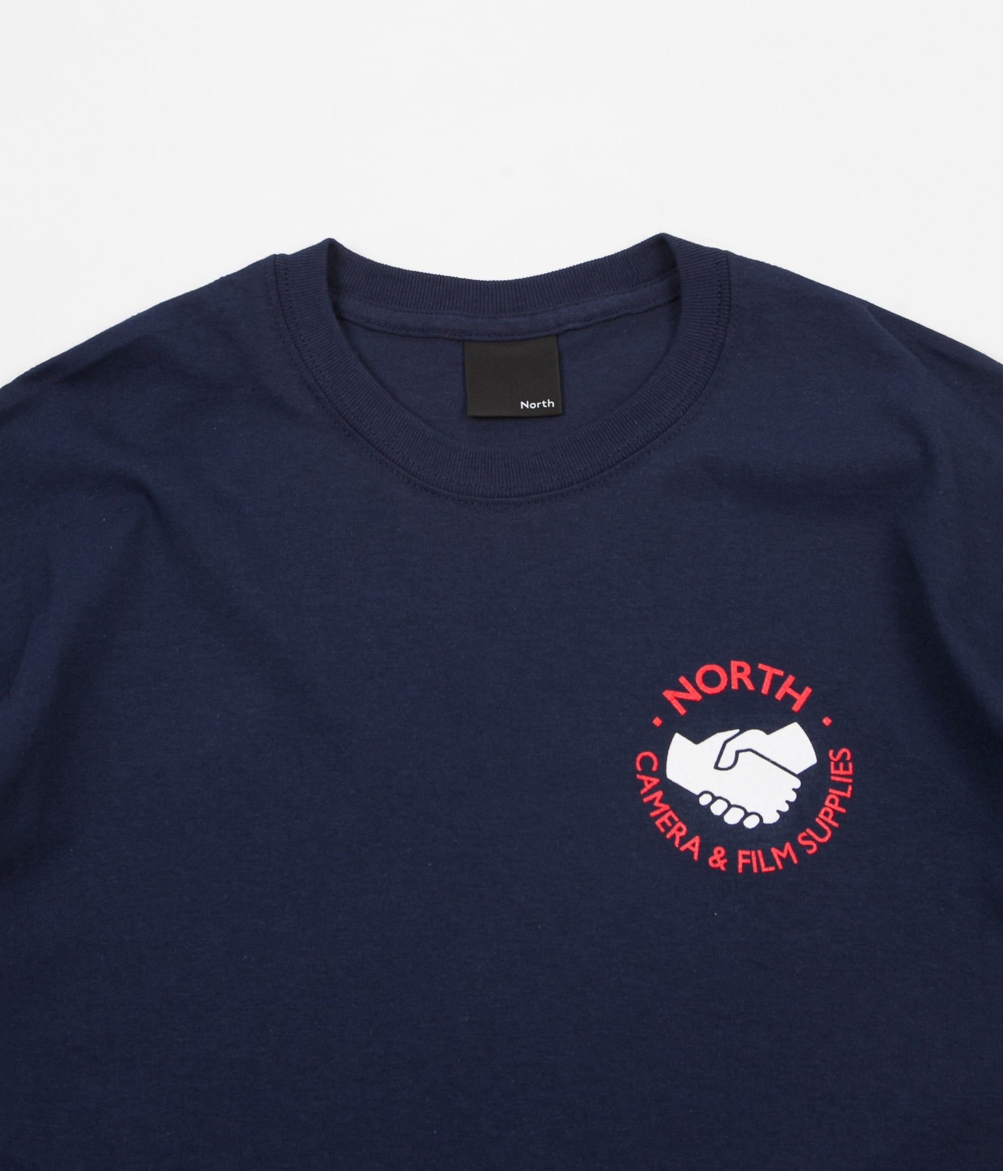 North Skateboard Magazine Supplies Logo T-Shirt - Navy / Red / White