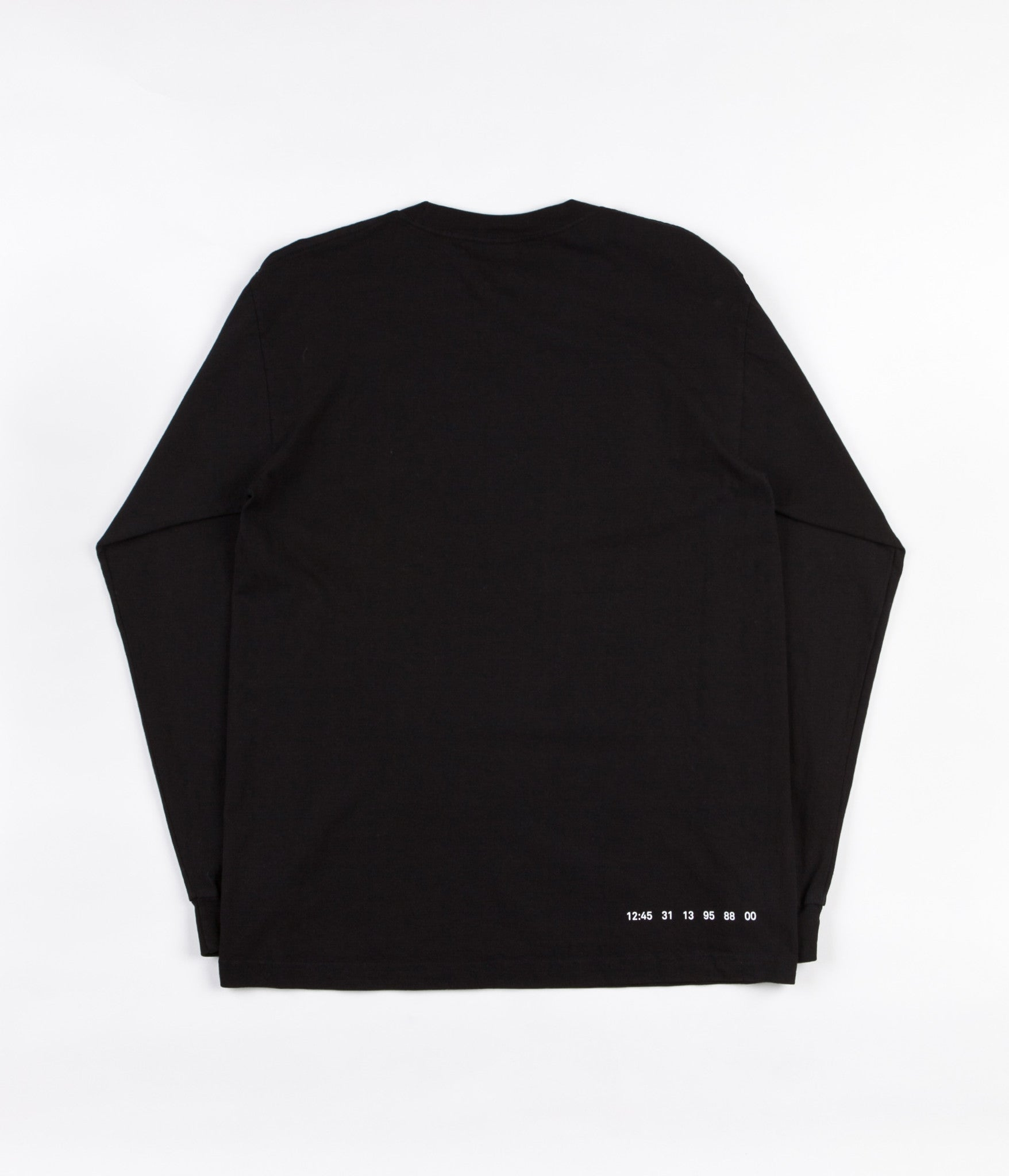 Numbers Mitered Logotype Long Sleeve T-Shirt - Black