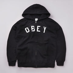 Obey Core Zipped Hooded Sweatshirt Black